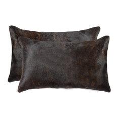 "12""x20"" Torino Cowhide Pillows, Set of 2, Chocolate"