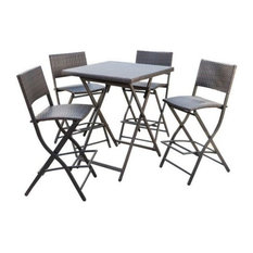 GDF Studio 5-Piece Marinelli Outdoor Multibrown Wicker Bar Set