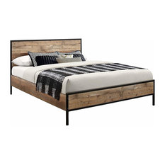 Bed, Solid Wood and Steel Frame, Rustic Design, Perfect for Your Comfort, Double
