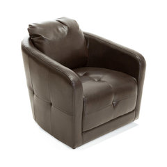 Bernhoft Swivel Fabric Armchair, Brown Leather. Round Leather Swivel Chair
