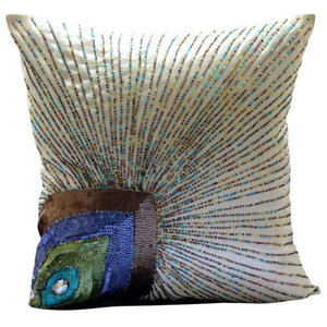 Peacock Feather Ivory Art Silk 55x55 Decorative Cushion Covers, Peacock Beauty