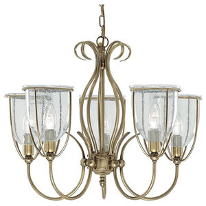 Silhouette 5-Arm Ceiling Light, Antique Brass, Clear Seeded Glass