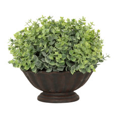 Artificial Green Potted Plant With Black Shell Vase
