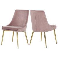 Karina Velvet Dining Chairs, Set of 2, Pink, Gold Base