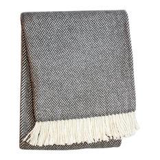 Herringbone Throw Blanket, Dark Gray