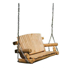 White Cedar Log Child's Outdoor Porch Swing With Chains