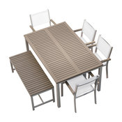 Travira 6-Piece Dining Set, Sling: Natural, Vintage Tekwood