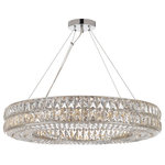 """Gallery Lighting - Crystal Spiridon Ring Chandelier Modern/Contemporary Lighting Pendant - Crystal Spiridon Ring Chandelier Chandeliers Modern / Contemporary Lighting 32"""" Wide - Good for Dining Room, Foyer, Entryway, Family Room and More!"""