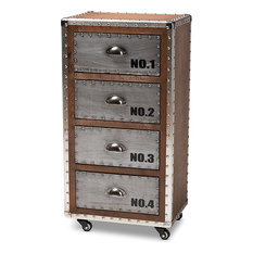 Avere French Industrial Brown And Silver Metal 4-Drawer Rolling Accent Chest