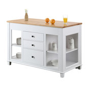 """Medley Kitchen Island With Slide Out Table, 54"""", White"""