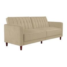 DHP   DHP Pin Velvet Convertible Sleeper Sofa, Tan   Sleeper Sofas