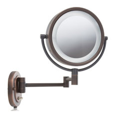 Wall mounted lighted makeup mirrors for your home houzz jerdon lighted 5x magnifying wall mount mirror makeup mirrors aloadofball Choice Image
