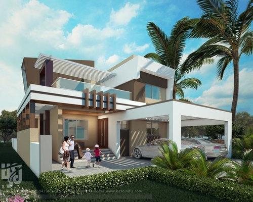 Bungalow Front Elevation : Modern bungalow exterior elevation design day rendering hs