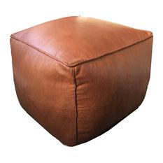 Square Moroccan Pouf Ottoman Leather, Rustic Brown, Stuffed