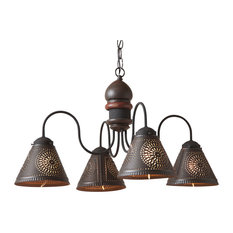 Cambridge 4-Light Wood Chandelier in Americana Colors, Espresso With Red