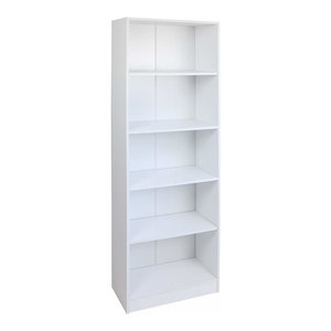 Bookcase, White Painted MDF With 5 Open Storage Shelves, Modern Design