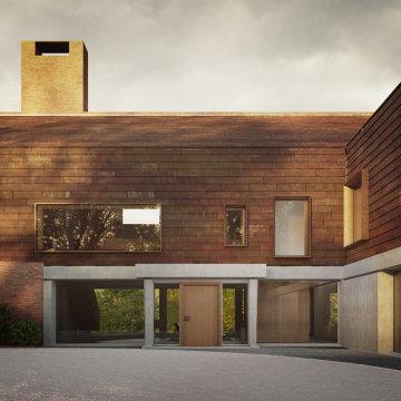 New Farm - Entrance courtyard to front door - Handmade Bricks and Tiles, Hoggin