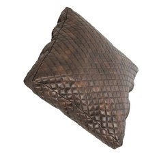 Faux Leather Pillow, Brown, 15x2.5x15, Quilted Faux Leather Pillows