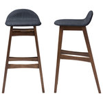 "Baxton Studio - Bloom Walnut Wood Finishing 30"" Bar Stools, Set of 2, Dark Blue Fabric - Infuse your home with everyday function and organic appeal with the Bloom Mid-century Retro Modern Scandinavian Style Dark Blue Fabric Upholstered Walnut Wood Finishing 30-Inches Bar Stool. This modern bar stool features a bold solid wood base that ensures long lasting strength, while the plush seat in dark blue fabric is small with supportive back rest. The built in footrest offers extra support. Bloom barstool is the perfect balance of comfort and style. The crisp clean lines and subtle curve is combined with supportive seating. A small cushioned seat with lipped edges and a low back rest keeps you comfortable and well supported, while a built in foot rest provides extra support. The barstool infuses the modern space with an innate style. Made in Malaysia, the Bloom requires assembly."