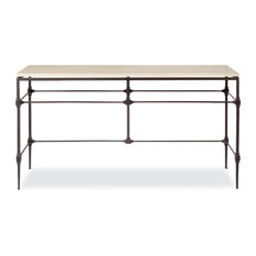 Tory Modern Classic Honed Travertine Aged Iron Console Table   Console  Tables