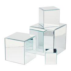 Set-4 Sq Glss Mirror Pedestals