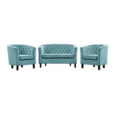 Modway Prospect 3 Piece Velvet Loveseat And Armchair Set EEI-3152-SEA-SET