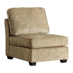 Homelegance - Homelegance Burke Modular Armless Single Chair in Brown Beige  Chenille - Sectional Sofas