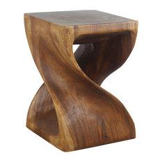 "Haussmann Wood Twist End Table 15x15x20"" High Walnut Oil"