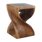 Haussmann� Wood Twist End Table 15 x 15 x 20 inch High Walnut Oil