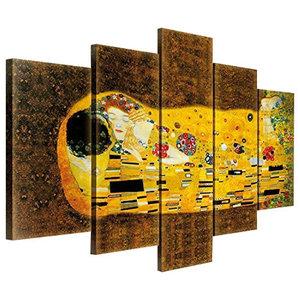 Il Bacio Di Klimt Worldvogue 5-Piece Modern Canvas Wall Art, 150x100 cm