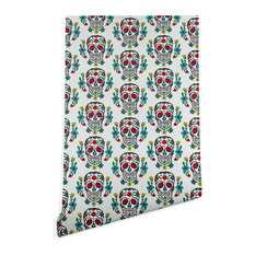 Deny Designs Andi Bird Sugar Skull Tattoo Slate Wallpaper, Blue, 2'x10'