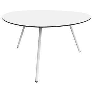 Low Dine-Alowha Dining Table, White, White Frame