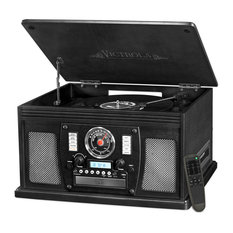 8-in-1 Bluetooth Record Player With USB & 3-Speed Turntable, Black