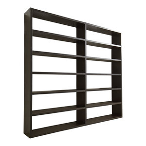 Torero Wide Double Bookcase, Black-Brown