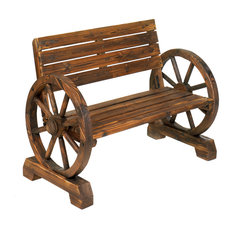 Great Eastwind Wholesale Gift Distributors   Wagon Wheel Bench   Outdoor Benches