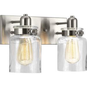 Progress Lighting Calhoun 2-Light Bath and Vanity, Brushed Nickel