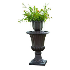 Teamson Design - Flower Pot Urn Outdoor Water Fountain - Outdoor Fountains and Ponds