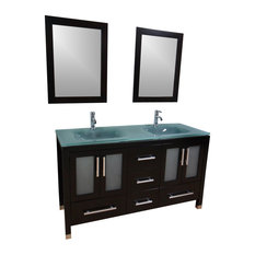 """72"""" Double Sink Bathroom Vanity - Frosted Green Glass Top"""