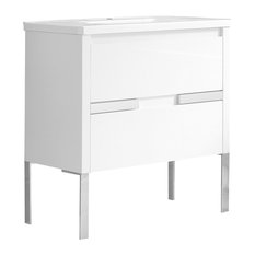"""Cahaba Braxton 32""""x18"""" Vanity, White With Ceramic Top and Integrated Basin"""