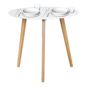 Scandinavian White and Oak Round Dining Table