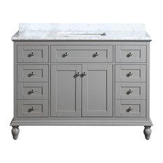 """Yasmine Floor Mount 48"""" 3-Hole Vanity, Gray, Quartz White"""