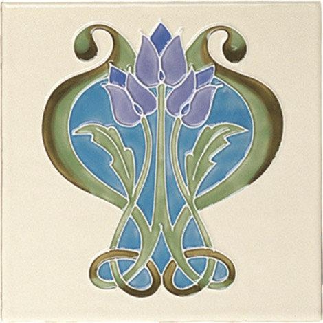 Blue Art Nouveau Insert - Tile
