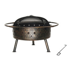 """Laser Cut Diamond Fire Pit With Poker, Distressed Bronze, 30"""""""