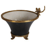 London Essentials - Black Single Dragonfly Indoor Planter - The Black Single Dragonfly Indoor Planter is a beautiful black porcelain planter with a stunning texture. A delicate brass dragonfly and brass feet add a gorgeous metallic touch, making it an elegant piece to display in any room. Fill your home with greenery to freshen it up and tap into the indoor plant trend this season.