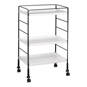 Modern Serving Trolley Cart, Black Steel Frame and 3 White Plastic Shelves