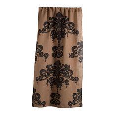 "Enchantique Jute Window Curtain, Natural and Bark, 54""x108"""