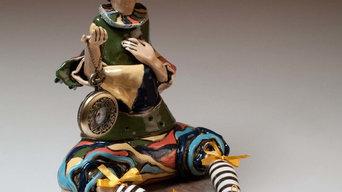 """""""Коломбина"""", керамическая кукла для декора интерьера."""