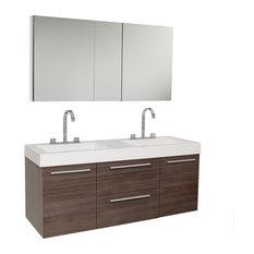Opulento Gray Oak Modern Double Sink Bathroom Vanity, Faucet FFT3076CH