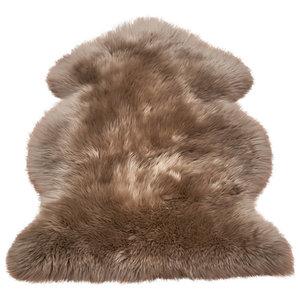 Sheepskin Taupe Sheepskin Rectangle Plain/Nearly Plain Rug 120x180cm