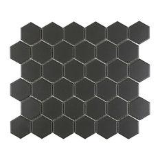 """2""""x2"""" Porcelain Hexagon Mosaic Tile, Black"""